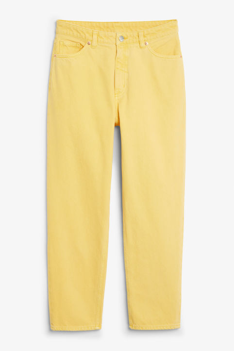 Front image of Monki taiki jeans in yellow