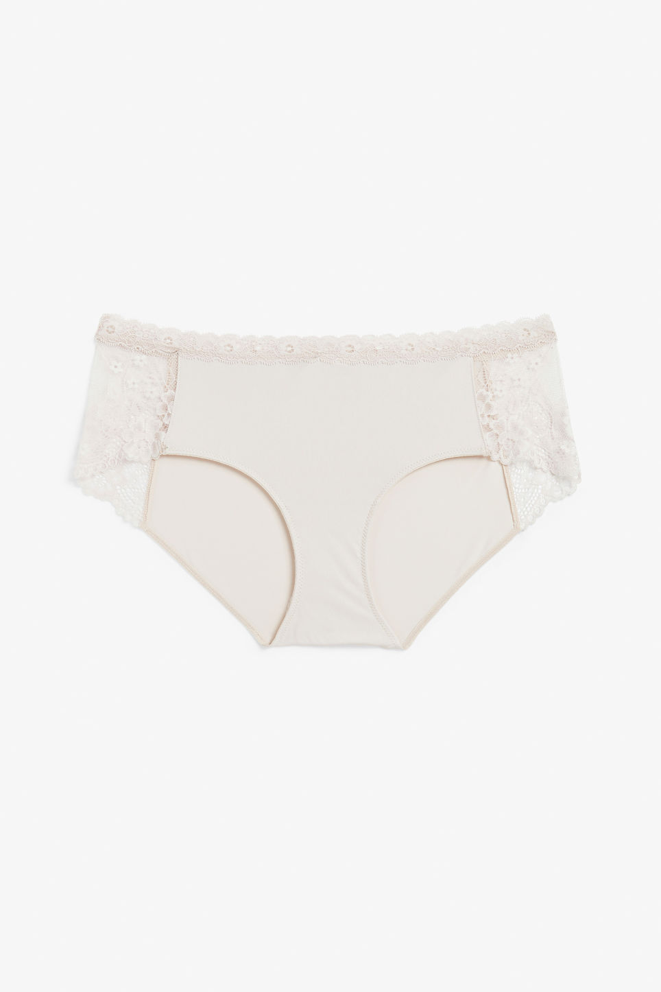 Front image of Monki hipster lace panel briefs in pink