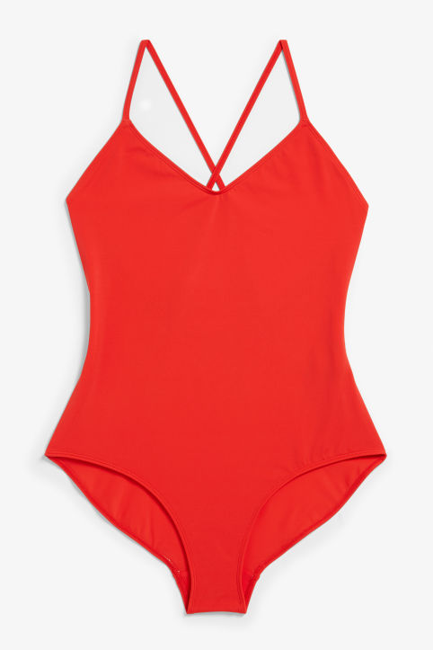 Front image of Monki cross back swimsuit in red