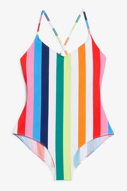 Front image of Monki cross back swimsuit in pink