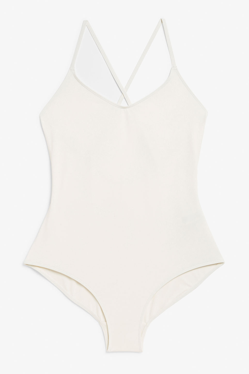 Front image of Monki cross back swimsuit in white