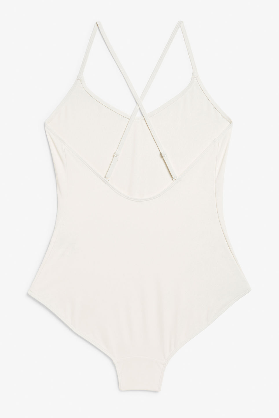 Back image of Monki cross back swimsuit in white