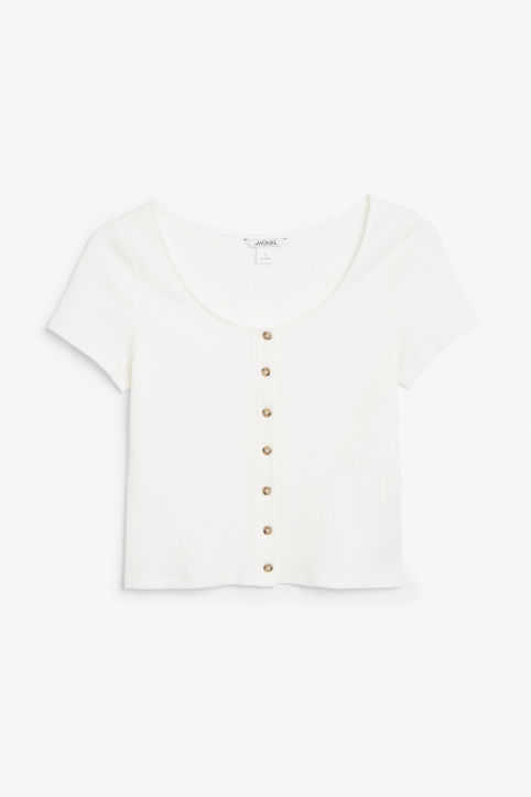 Front image of Monki ribbed top in white