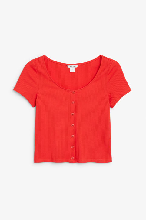 Front image of Monki ribbed top in red