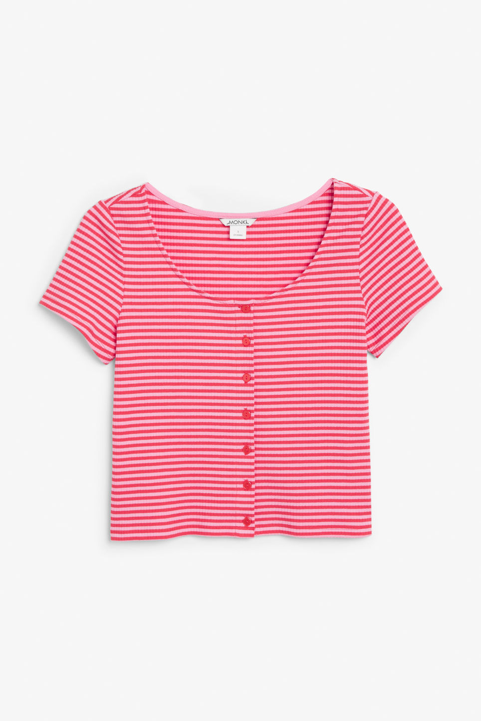 Front image of Monki ribbed top in pink