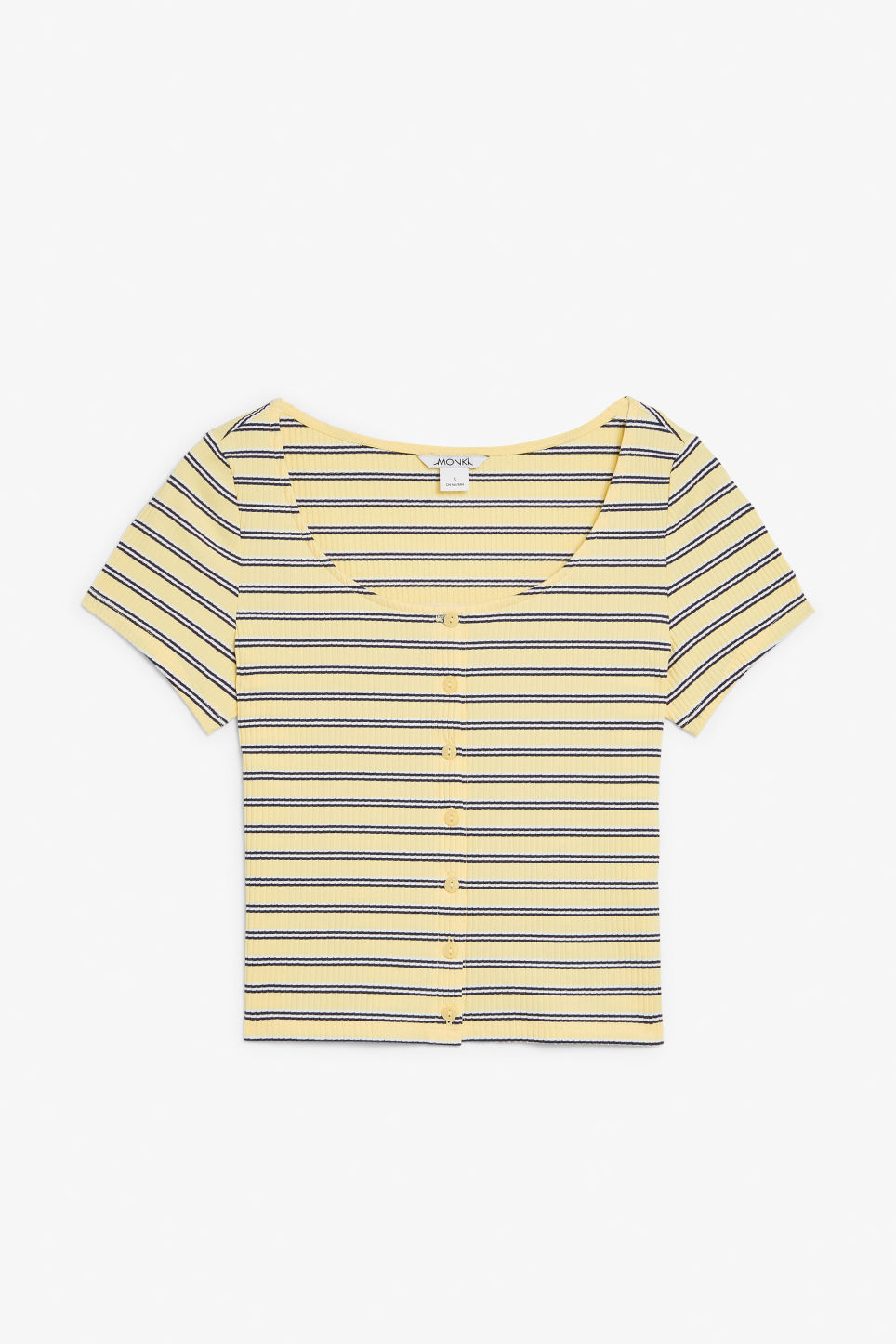 Front image of Monki ribbed top in yellow