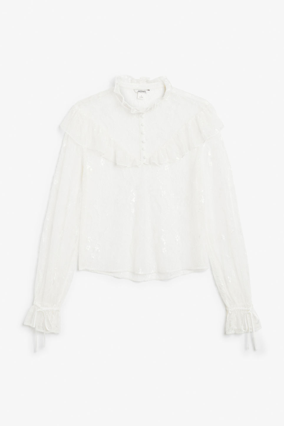 Front image of Monki button-up ruffle blouse in white