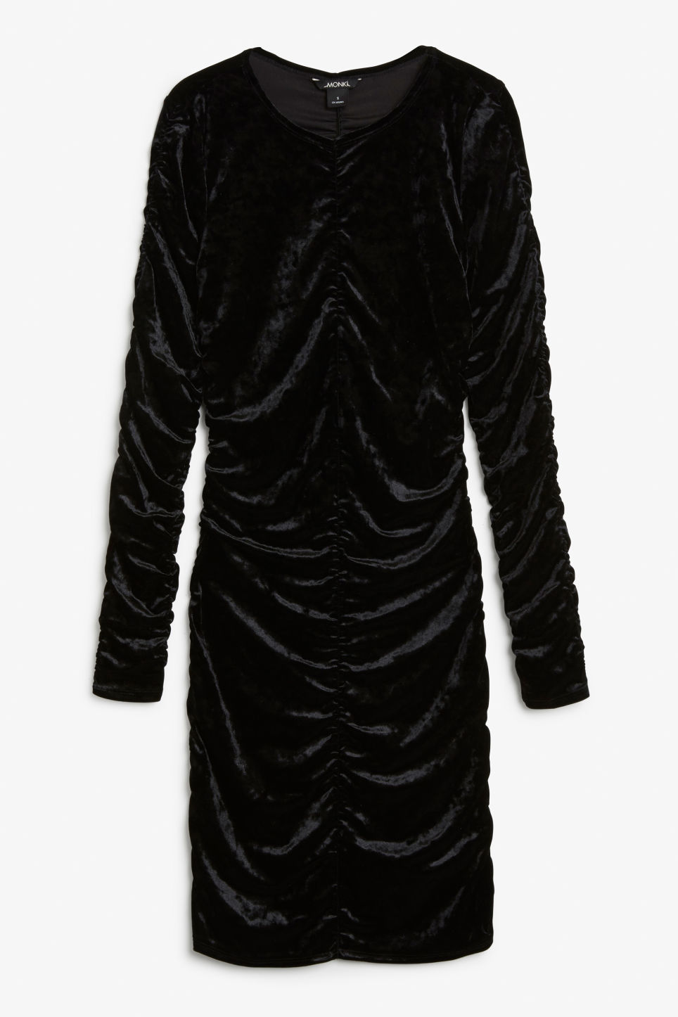 Front image of Monki ruched velvet dress in black