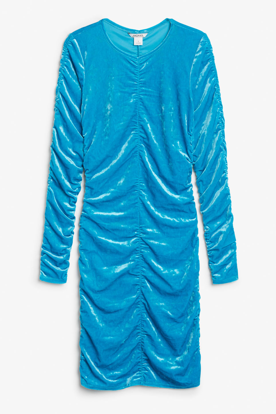 Front image of Monki ruched velvet dress in turquoise