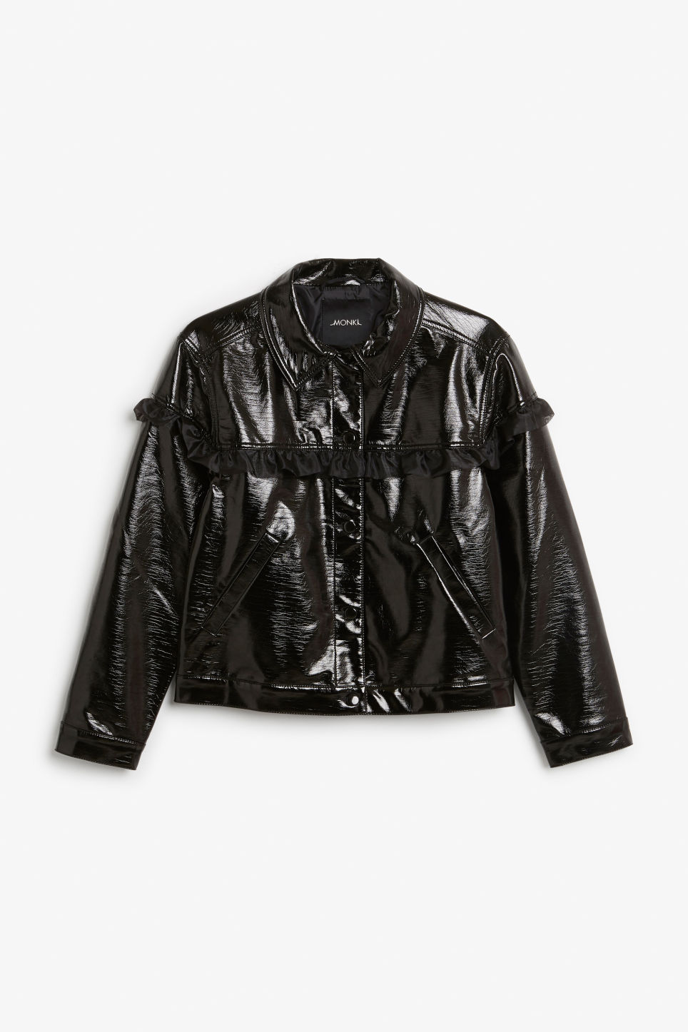 Front image of Monki patent faux leather jacket in black