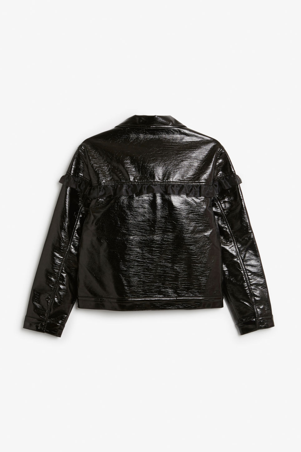 Back image of Monki patent faux leather jacket in black