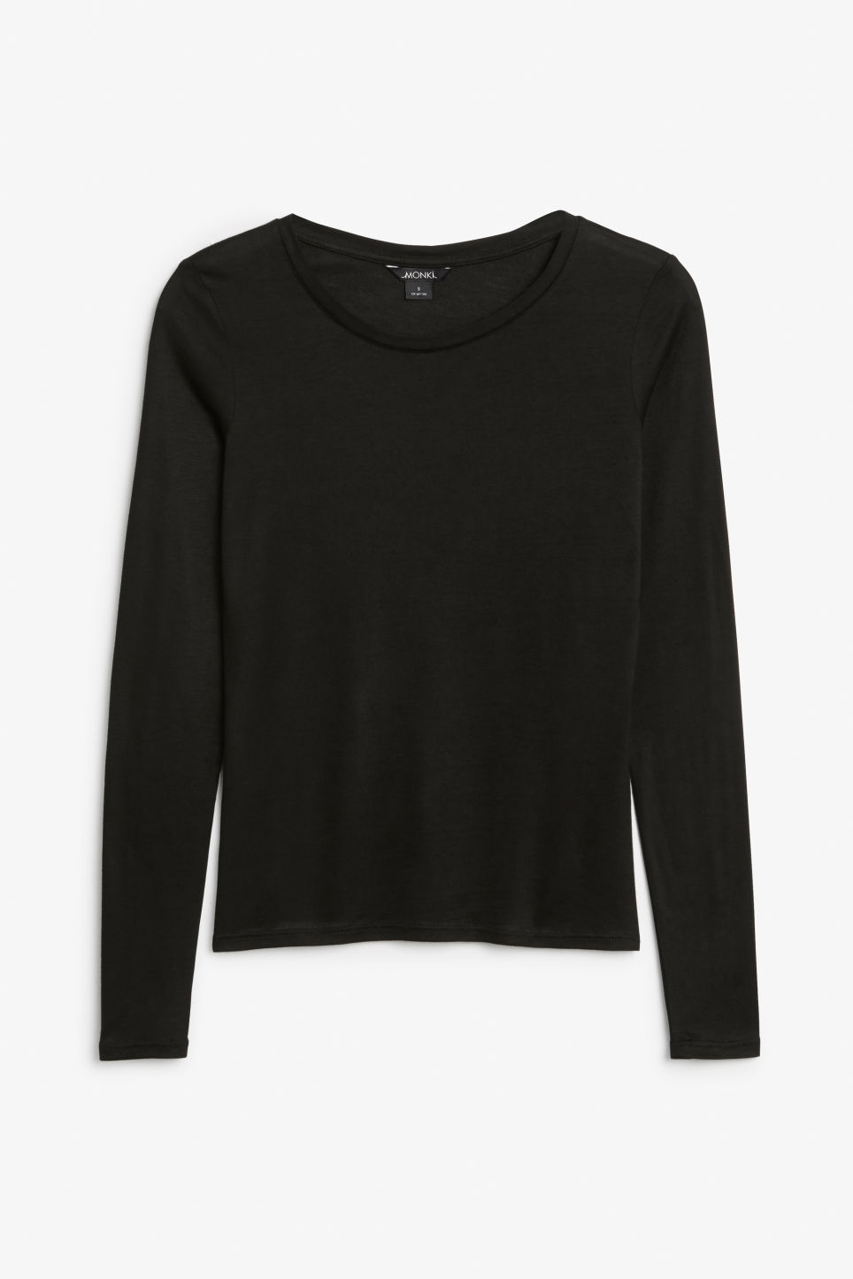 Front image of Monki long-sleeved top in black