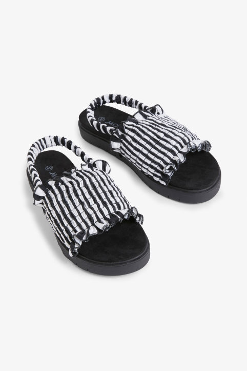 Front image of Monki slingback sandals in black