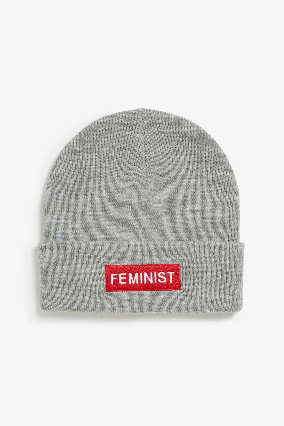Front image of Monki statement print beanie in grey