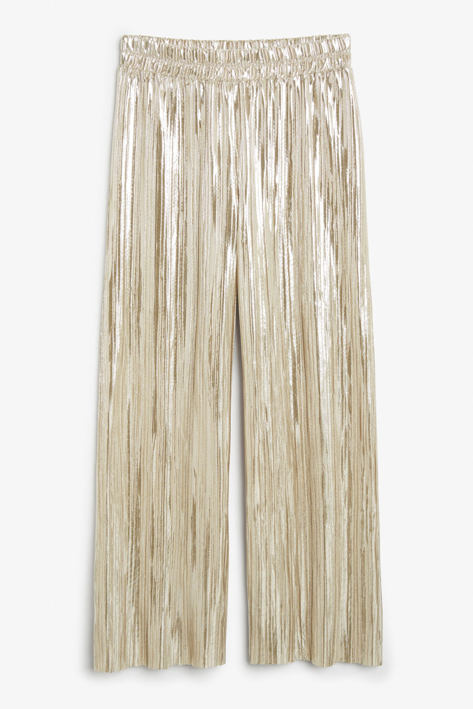 Front image of Monki wide metallic trousers in silver
