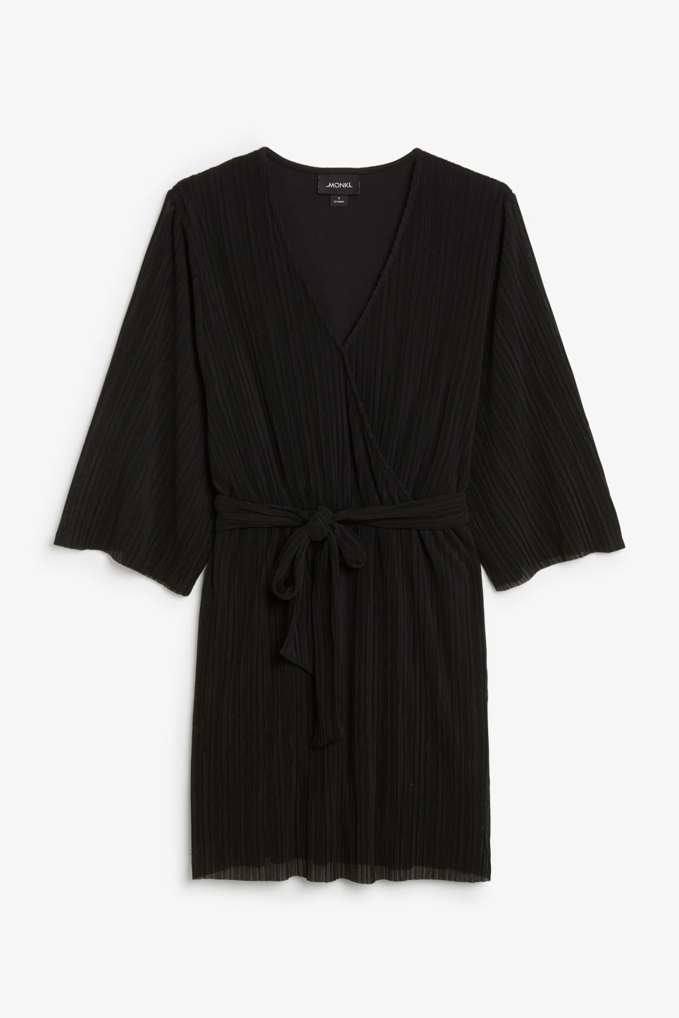 Front image of Monki pleated dress in black