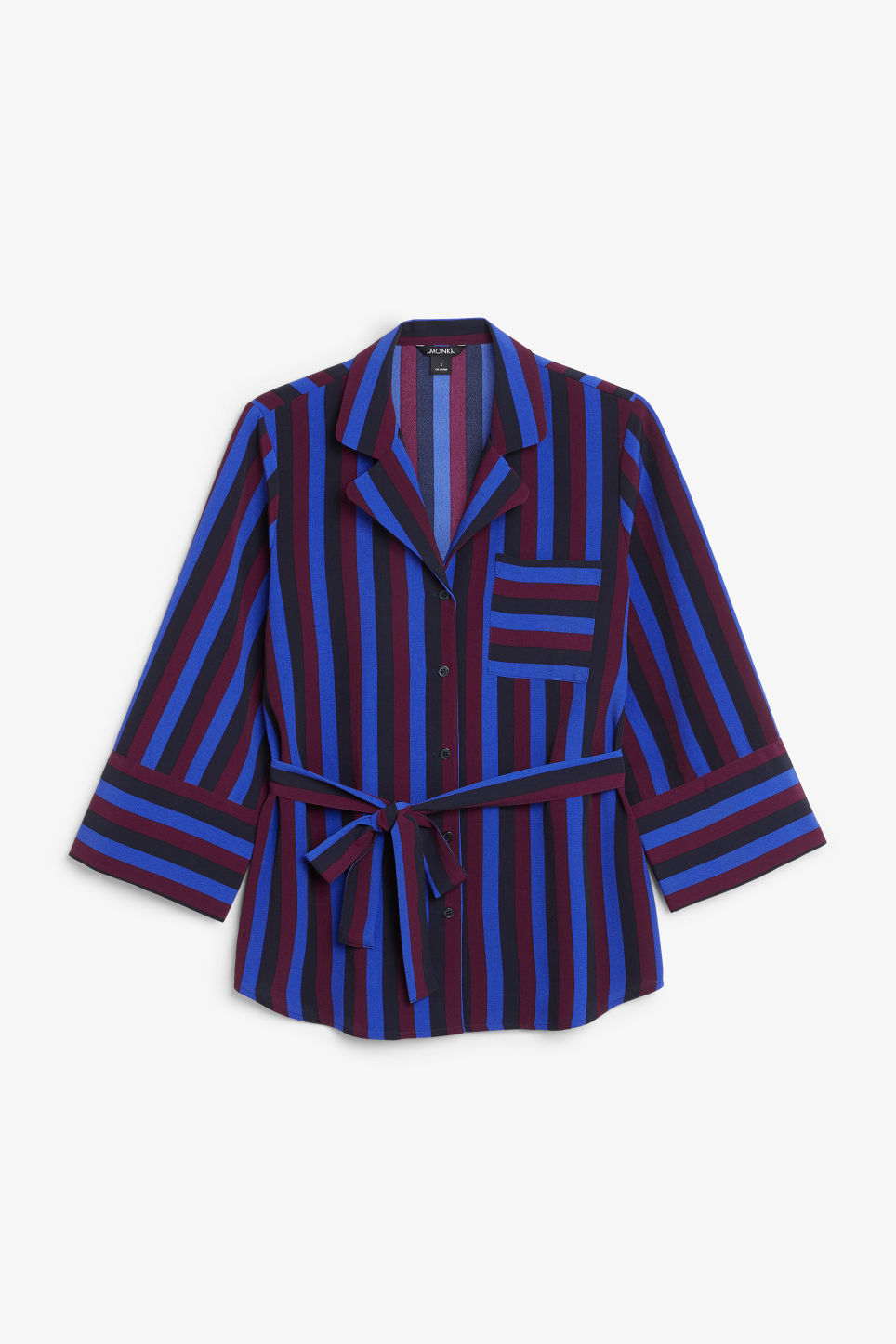 Front image of Monki tie waist blouse in blue