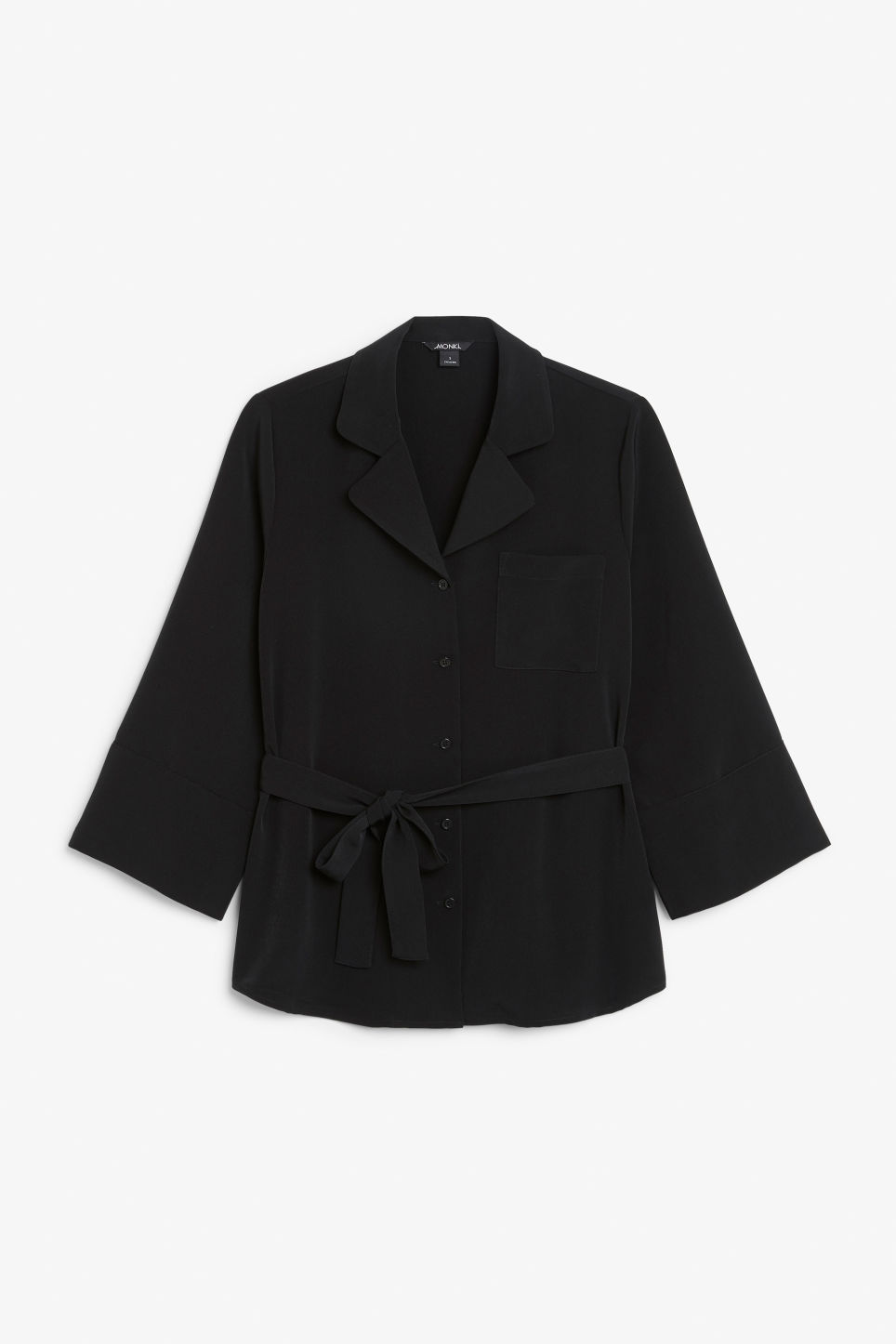 Front image of Monki tie waist blouse in black