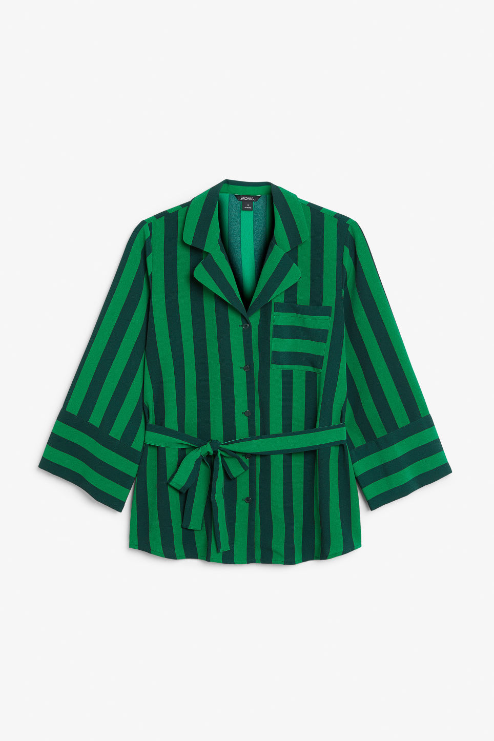 Front image of Monki tie waist blouse in green