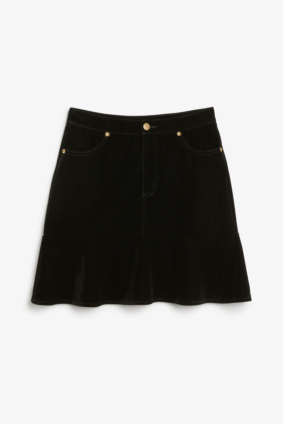 Front image of Monki velvet skirt in black