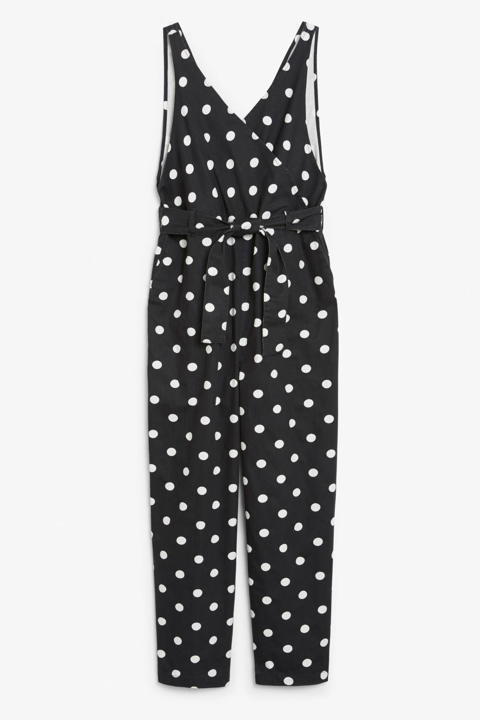 Front image of Monki denim jumpsuit in black