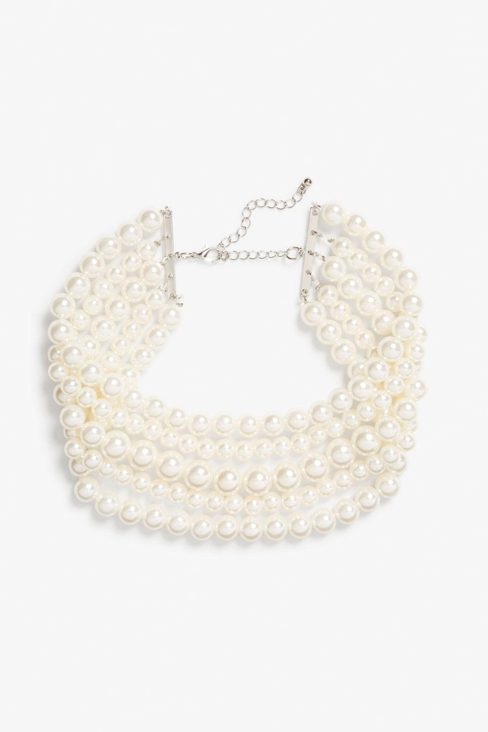 Front image of Monki pearl choker in white