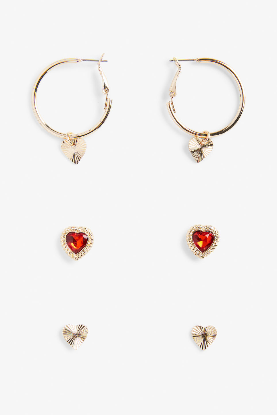 Front image of Monki assorted heart earrings in gold