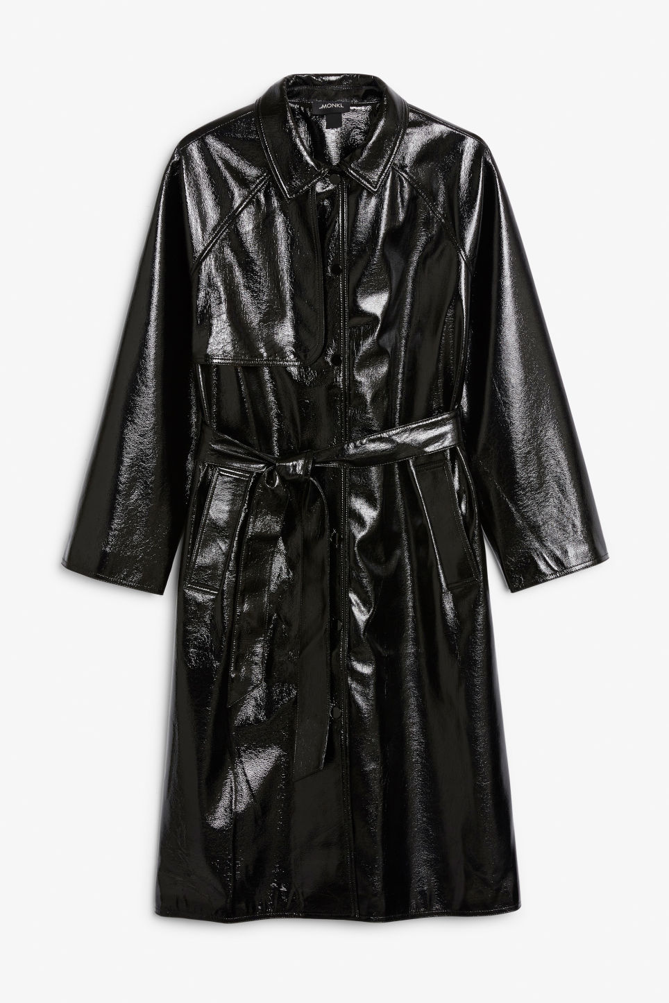 Front image of Monki patent trench coat in black