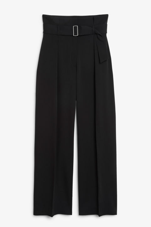 Front image of Monki flowy trousers in black