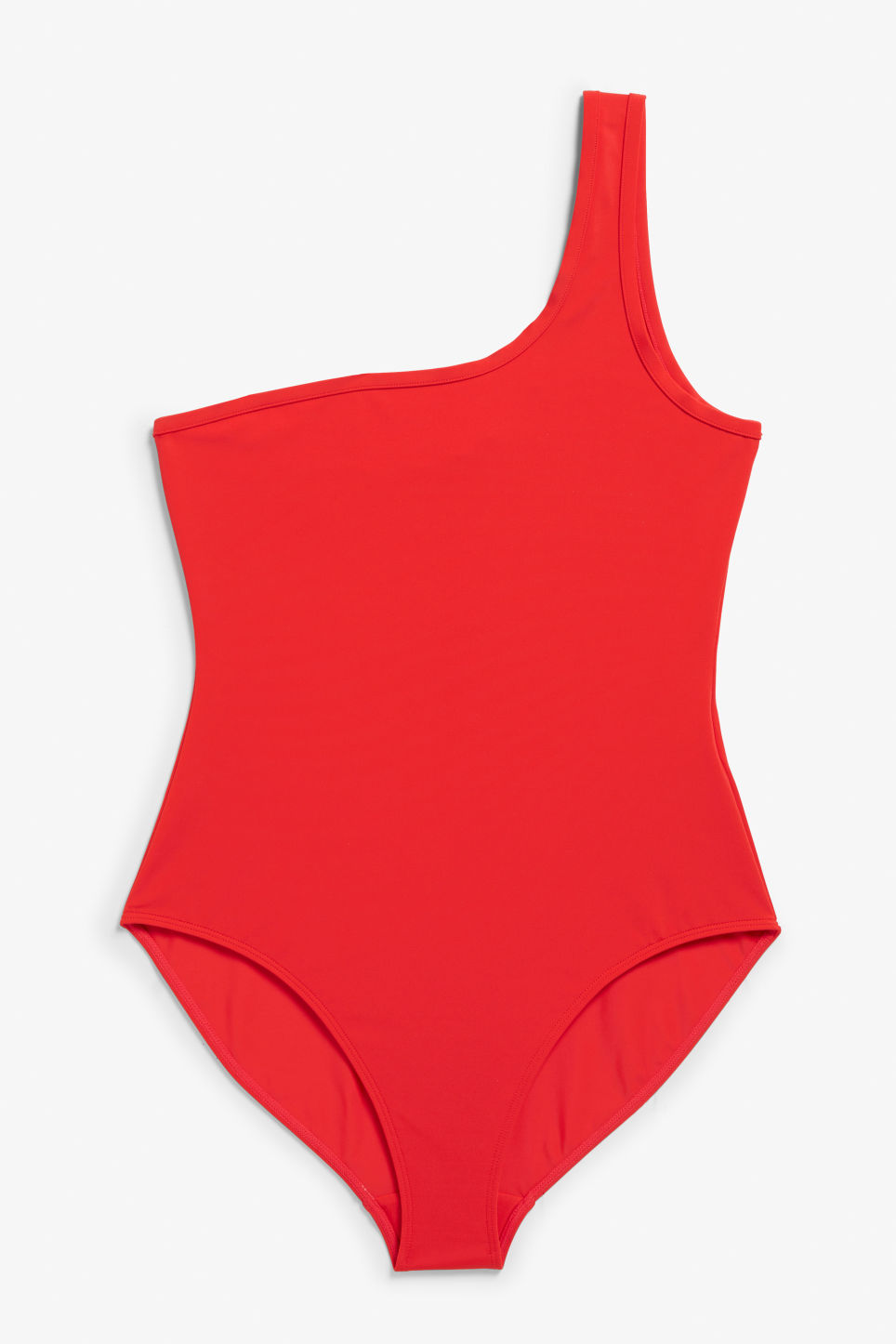 Front image of Monki one shoulder swimsuit in red