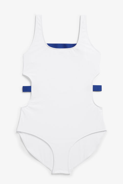 Front image of Monki cut-out swimsuit in white