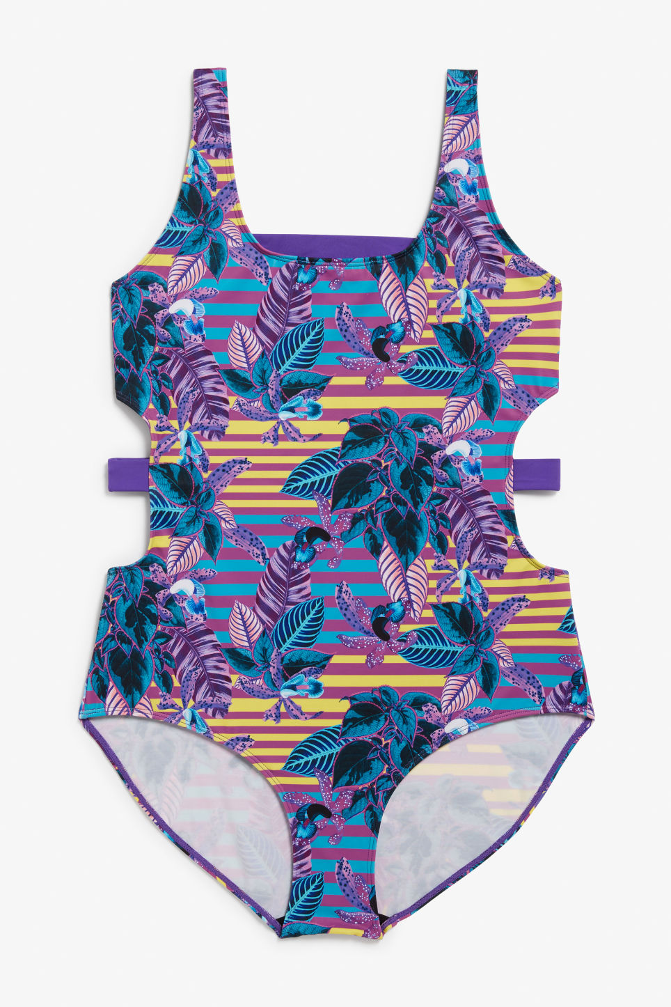 Front image of Monki cut-out swimsuit in purple