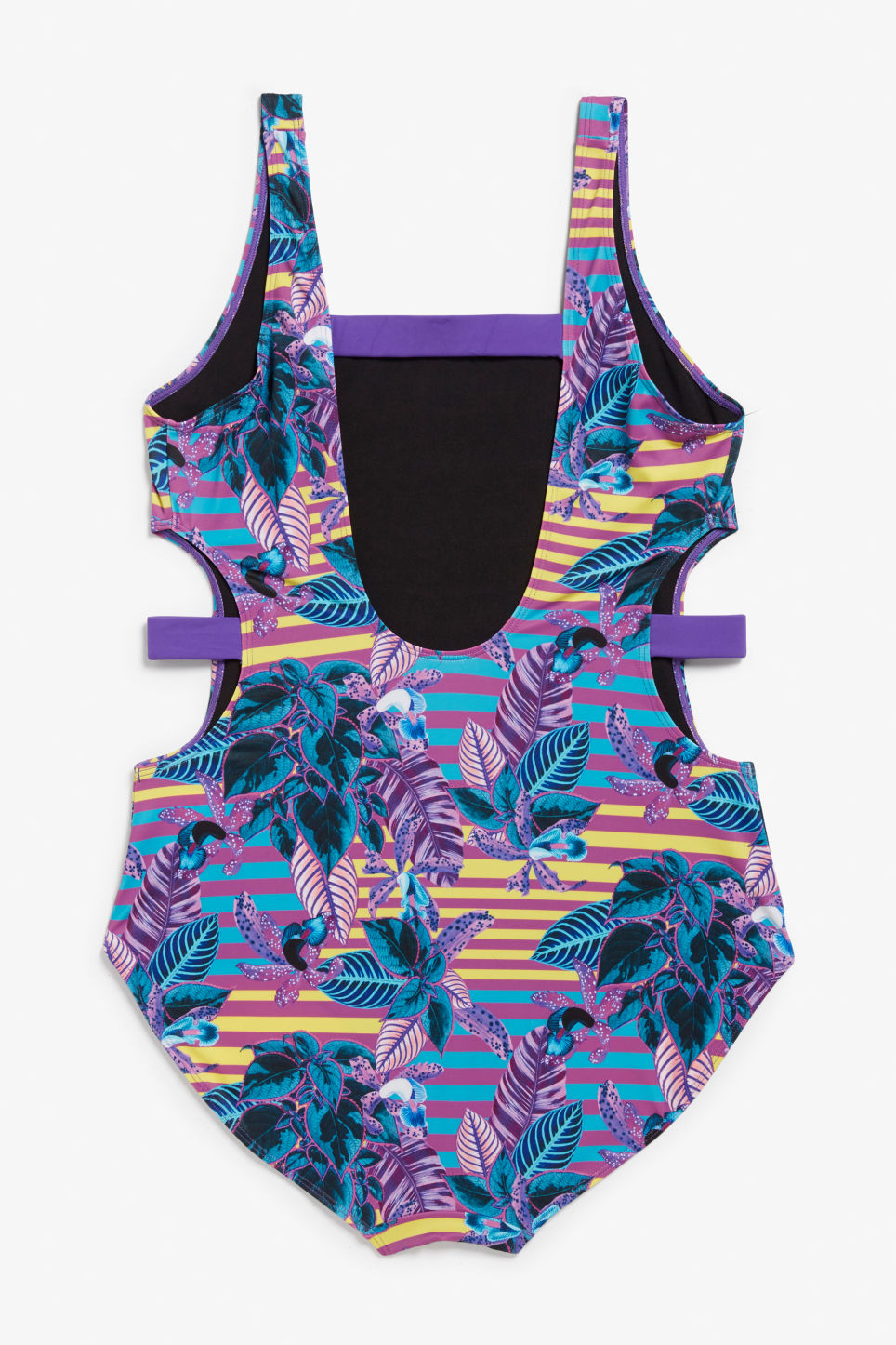 Back image of Monki cut-out swimsuit in purple