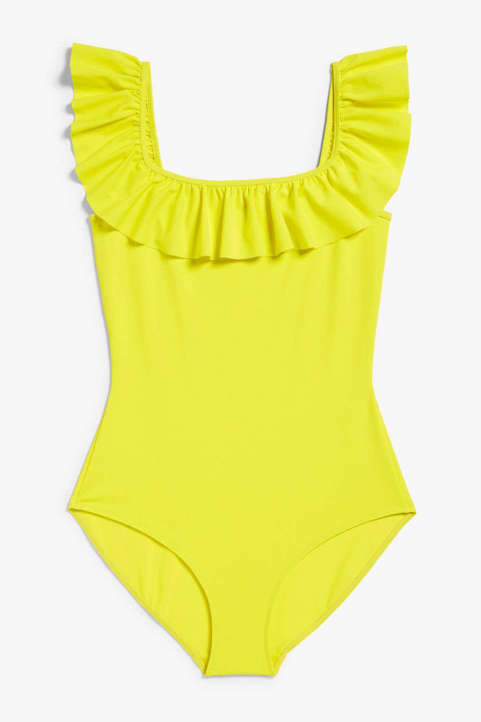 Front image of Monki ruffle swimsuit in yellow