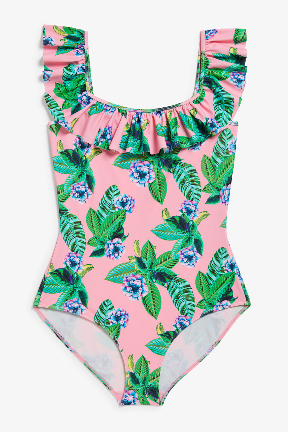 Front image of Monki ruffle swimsuit in pink