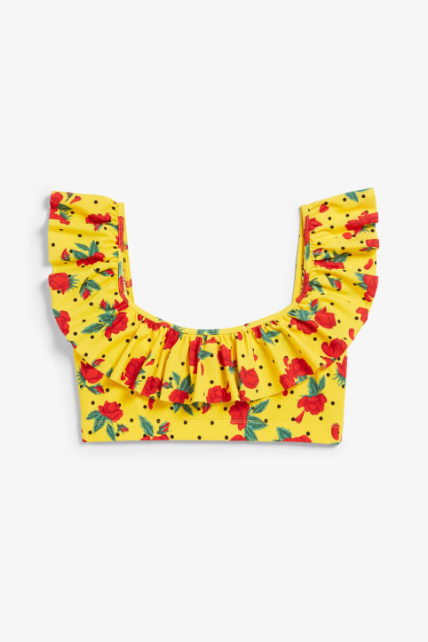 Front image of Monki ruffled bikini top in yellow
