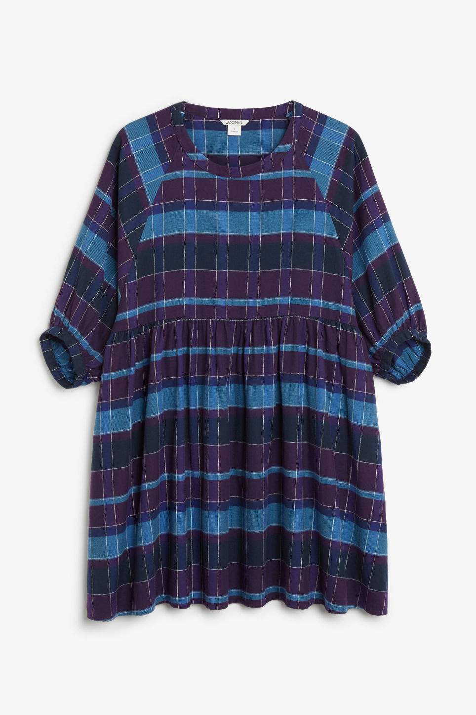 Front image of Monki wide check dress in purple