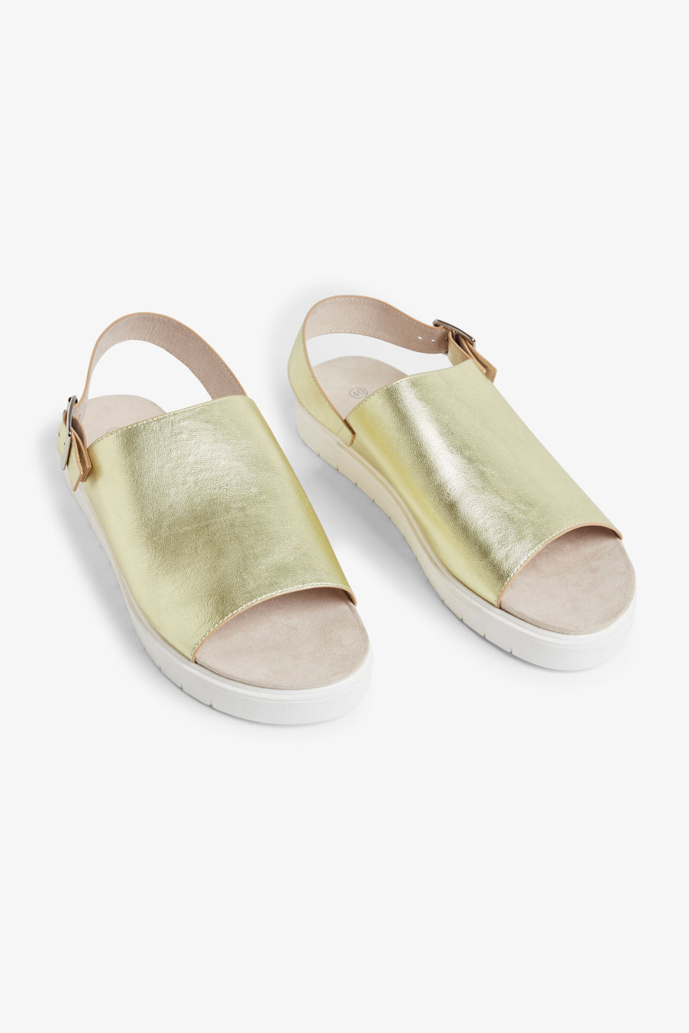 Front image of Monki slingback sandals in gold