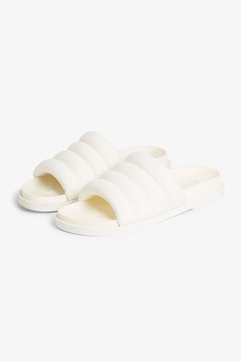 Front image of Monki padded beach sandals in white