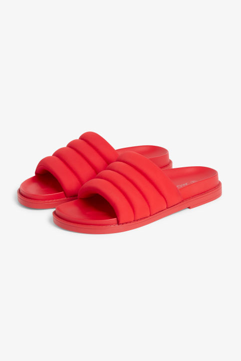 Front image of Monki padded beach sandals in red