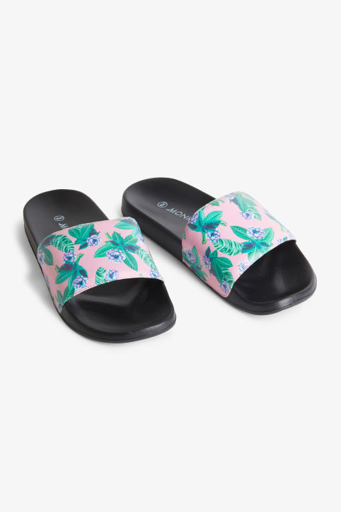 Front image of Monki beach sandals in pink