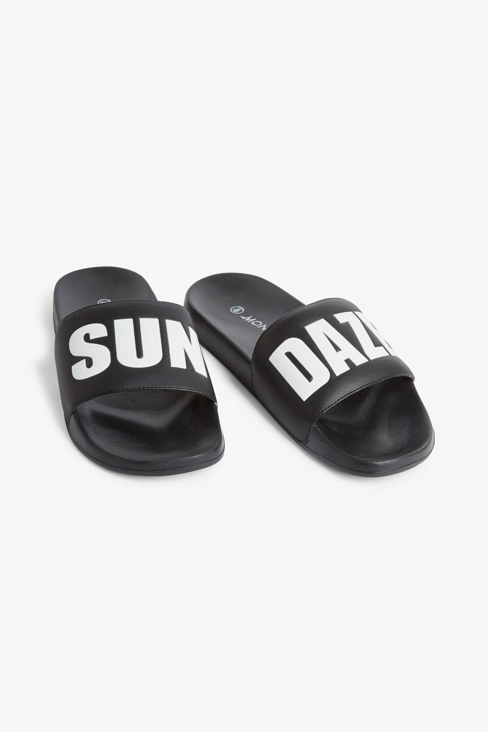Front image of Monki beach sandals in black