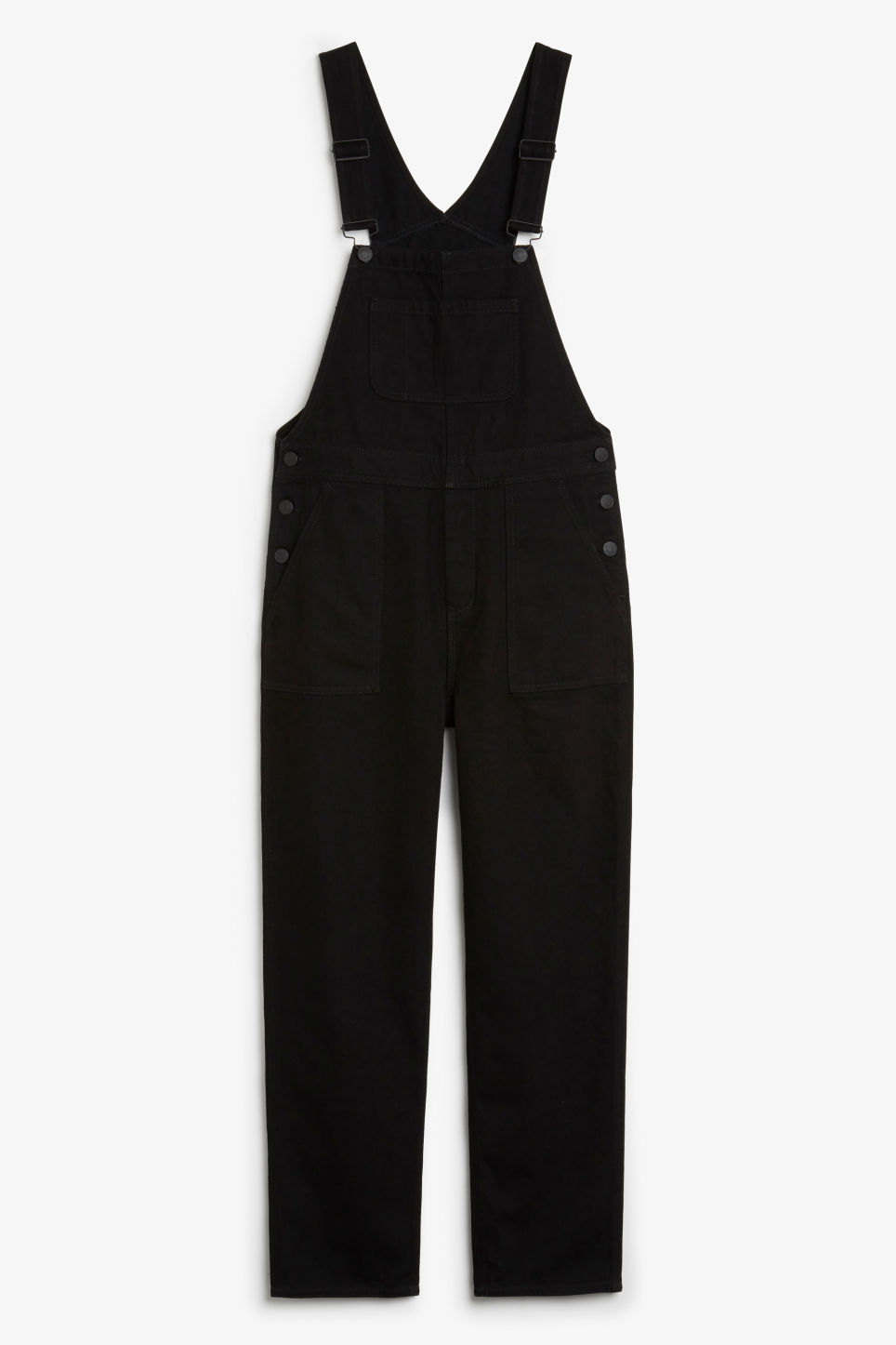 Front image of Monki denim dungarees in black