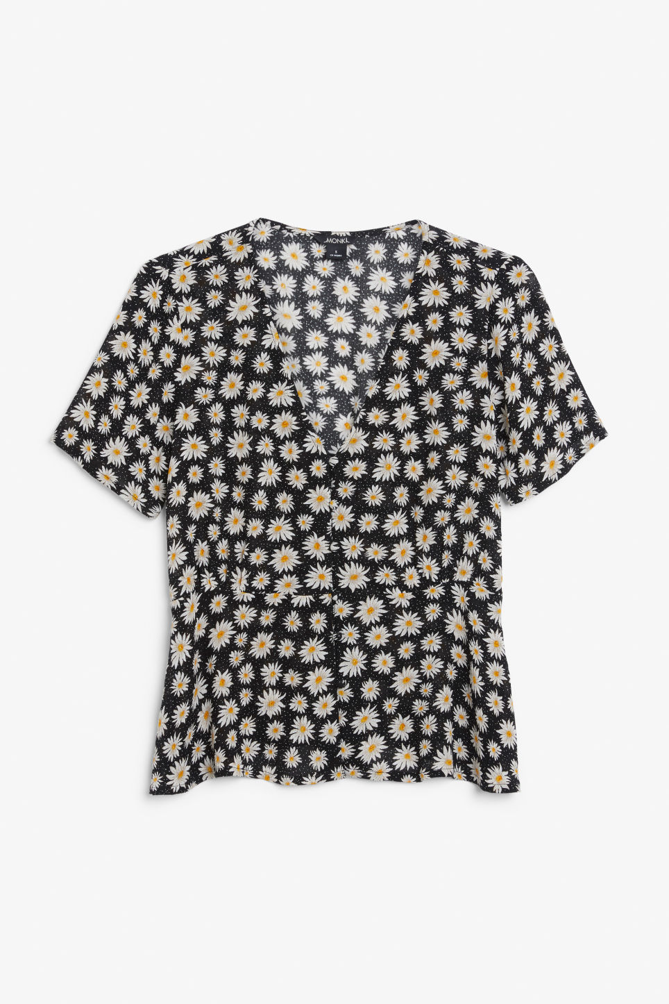 Front image of Monki romantic blouse in black