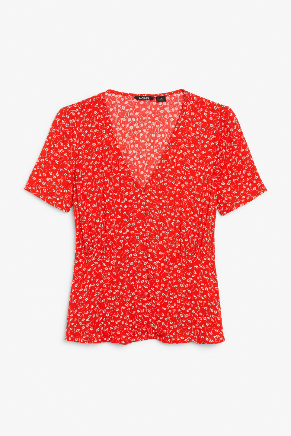 Front image of Monki v-neck blouse in red
