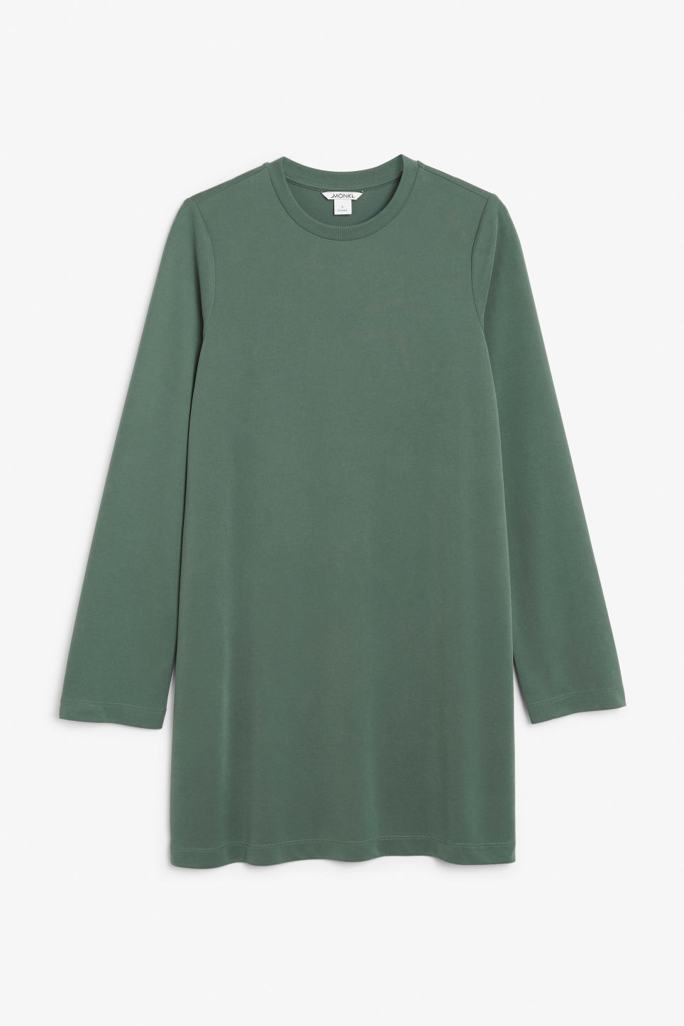 Front image of Monki soft t-shirt dress in green