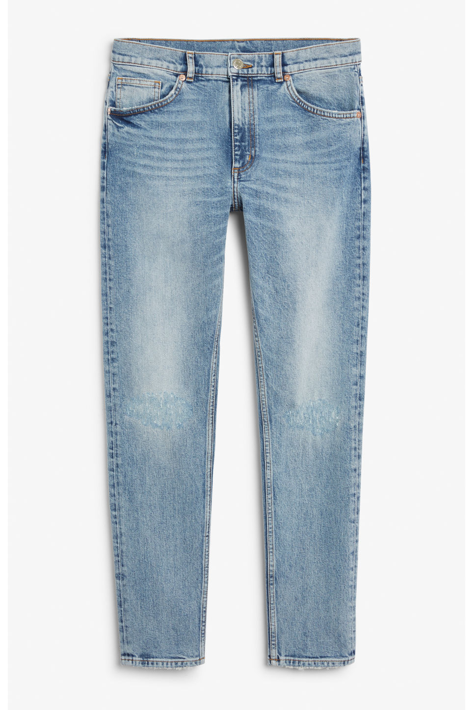 Front image of Monki moop worn in jeans in blue