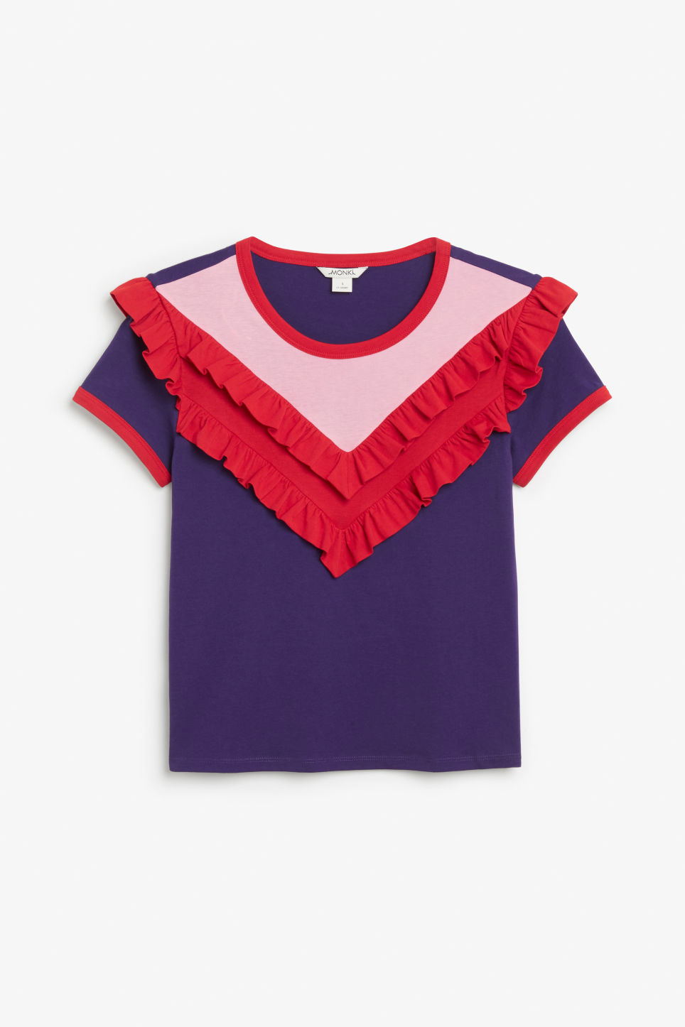 Front image of Monki ruffle ringer tee in purple