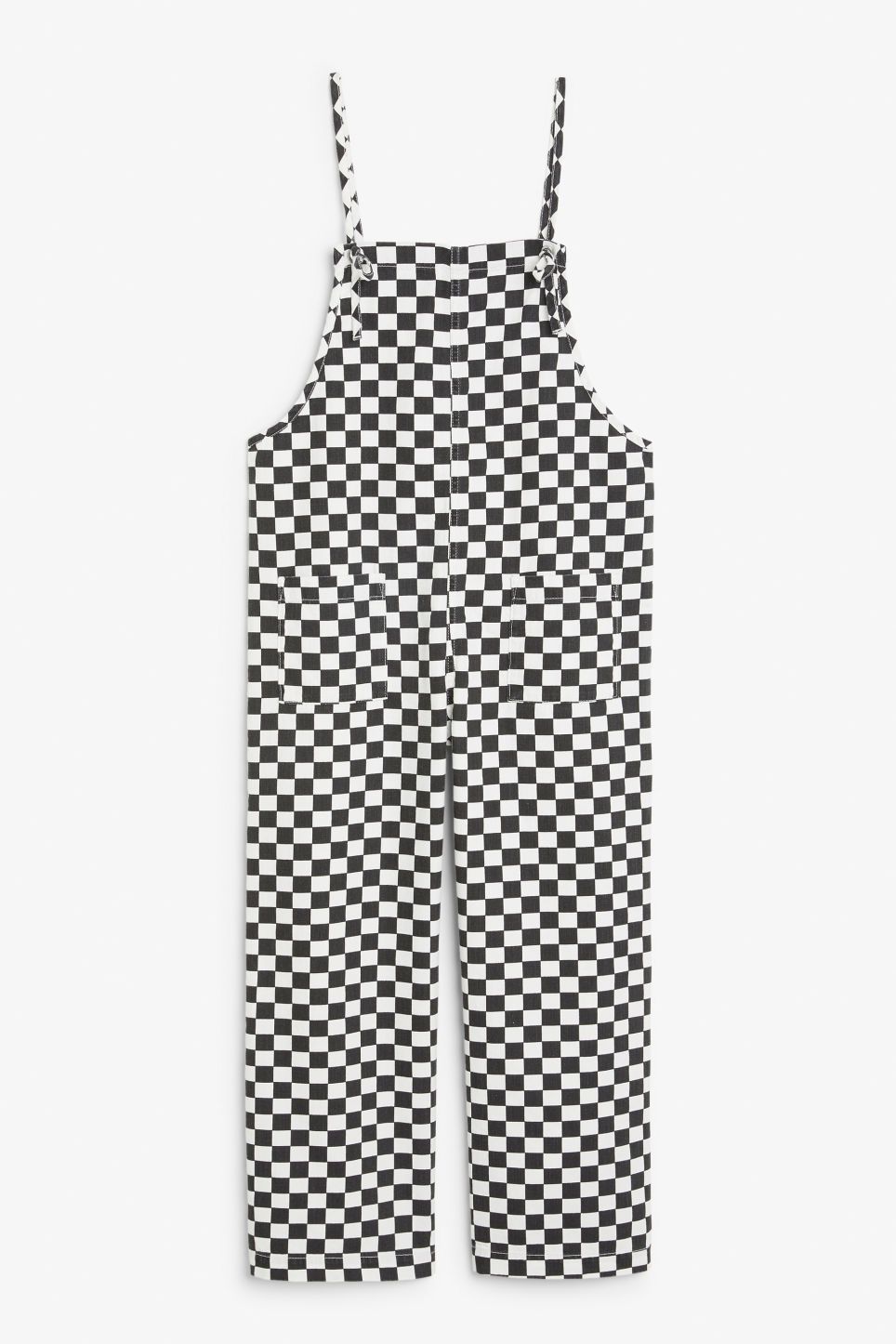 Front image of Monki denim dungarees in white