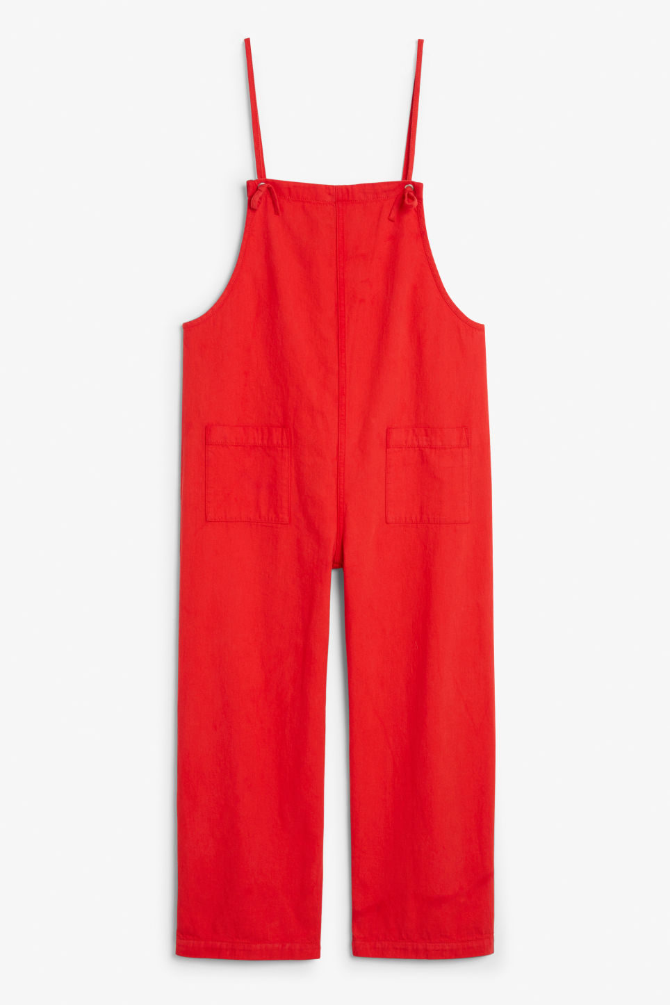 Front image of Monki denim dungarees in red
